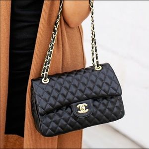 New CHANEL Double Flap Medium Quilted Bag Purse AA
